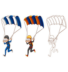 Drafting character for man doing parachute vector