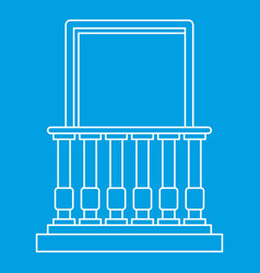 Balcony and balustrade icon outline style vector