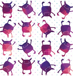 Colorfull seamless pattern with cute monsters vector