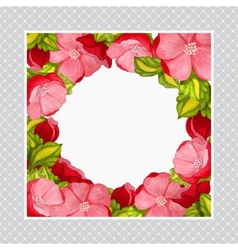 Greeting card with watercolor frame of pink peony vector