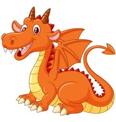 Cartoon dragon posing on white background vector