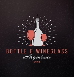 Wine glasses and bottle vintage retro design vector