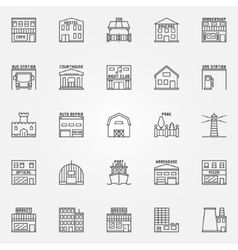 City buildings icons set vector