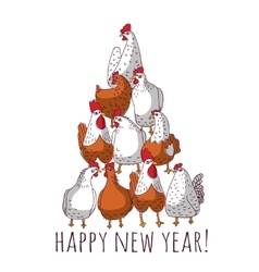 New year greeting chicken card with tree vector