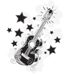 abstract guitar sketchy vector image vector image