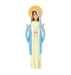 cartoon cute virgin mary character nativity design vector image