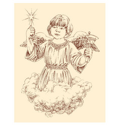 Christmas angel holding a light star and a bell vector