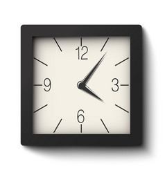 Classic black and white square wall clock vector