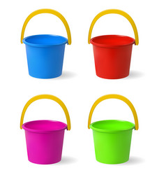colored baby buckets a set of multi-colored vector image vector image