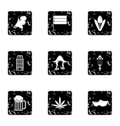 Country Holland icons set grunge style vector image vector image