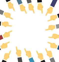 Crowd of people hand pointing on center template vector