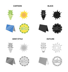 economical light bulb solar battery sun bio vector image vector image