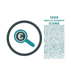 Euro financial audit rounded icon with 1000 bonus vector