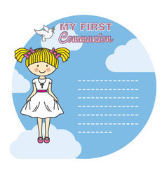 First communion girl vector