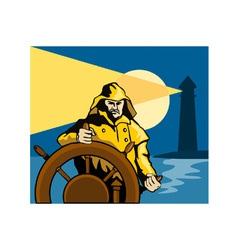 Fisherman sea captain helm retro vector