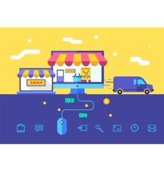 Flat design concept of online shop vector image