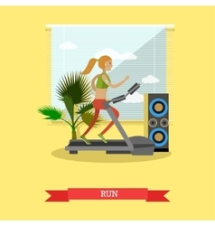 Girl running on a treadmill in fitness center gym vector