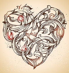 Hand-drawn vintage heart sketch vector