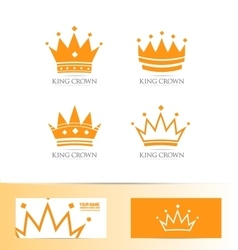 King crown logo icon set vector