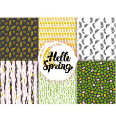 nature spring trendy seamless patterns vector image