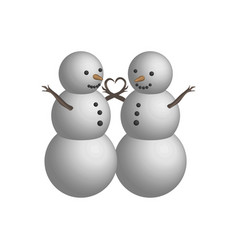 object snowman couple in 3d vector image vector image