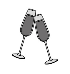 Pair of champagne glass cheers drink celebration vector
