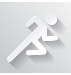 Paper Man Running Sign on white background vector image vector image
