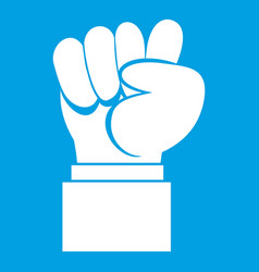 Raised up clenched male fist icon white vector