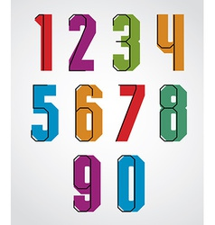 Retro numbers set bold condensed numerals typeface vector