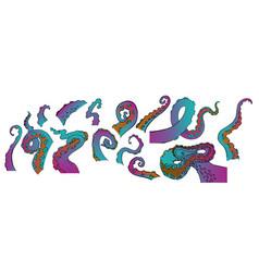 Sketch cartoon gradient octopus tentacles vector