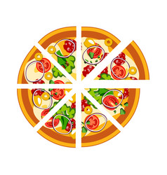 sliced whole hot pizza vector image