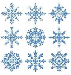 Snowflakes silhouette set vector
