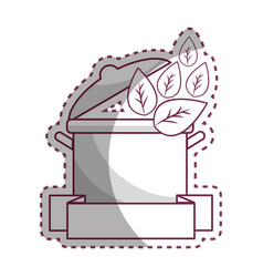 Sticker pot kitchen with leaves and ribbon vector
