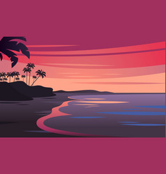 Sunset on beautiful tropical seascape vector