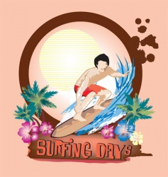 surfing days vector image