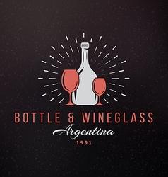 Wine Glasses and Bottle Vintage Retro Design vector image