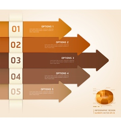 Brown color arrow number options banner vector