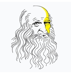 Portrait of leonardo da vinci vector