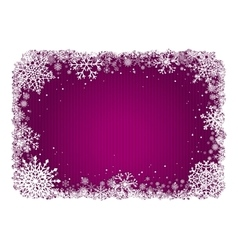 Pink christmas background with frame of snowflakes vector