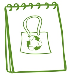 A notebook with a drawing of a recycled bag vector
