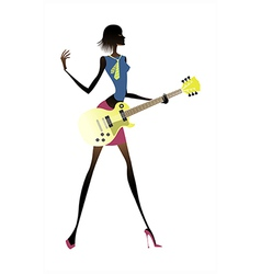 Guitarist woman vector