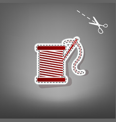 Thread with needle sign   red vector