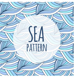 Blue waves repeating background doodle sea vector