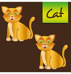 Yellow cat sitting with and whitout lines vector