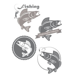 icons of fishing vector image