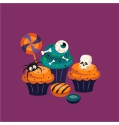 Halloween sweets and decorated cupcakes vector