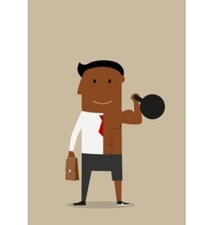 Double businessman with kettlebell and briefcase vector image