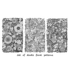 Set of doodle pattern with flowers and paisley vector image