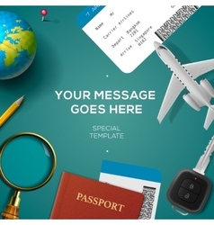 Travelling template travel and vacation concept vector