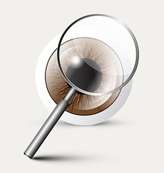 Magnifying glass with eye symbol vector